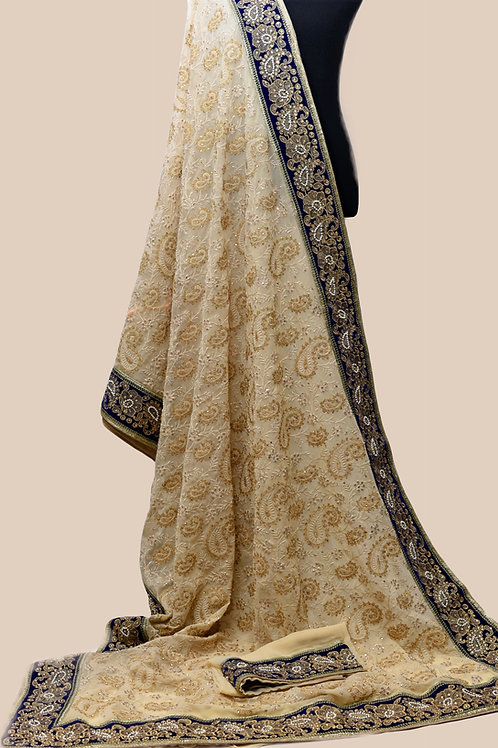 Beige Blue Georgette Saree