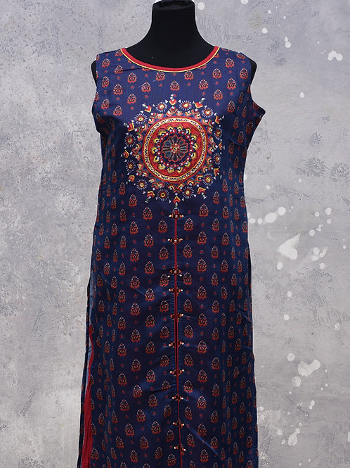 Blue Marron Cotton A line Flare Kurti