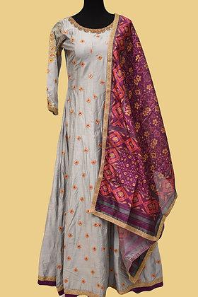 Grey Chanderi Silk Abaya Style Suit