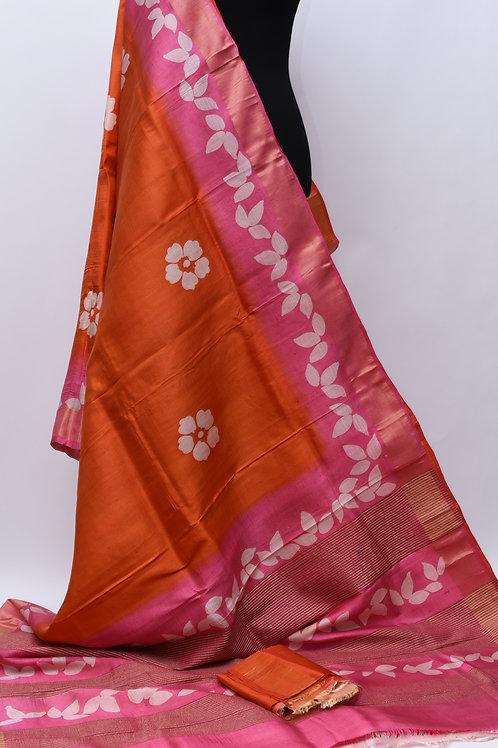 Orange Pink Tussar Silk Saree