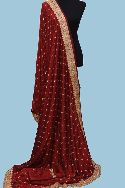 Marron Silk Embroidery Saree
