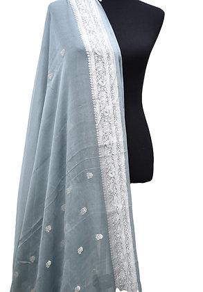 Banarasi Gray Silver Khadi Chiffon Silk Saree
