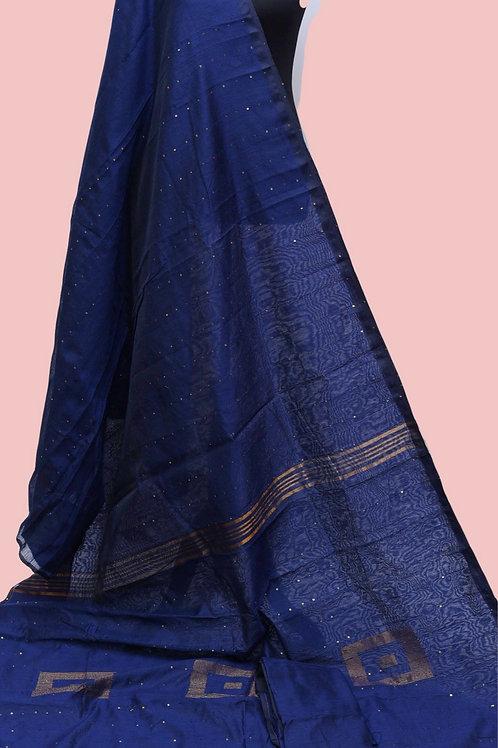 Blue Cotton Silk