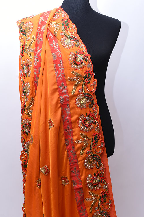 Satin silk orange Saree