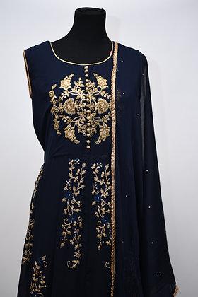 Navy Blue Abaya Style Suit