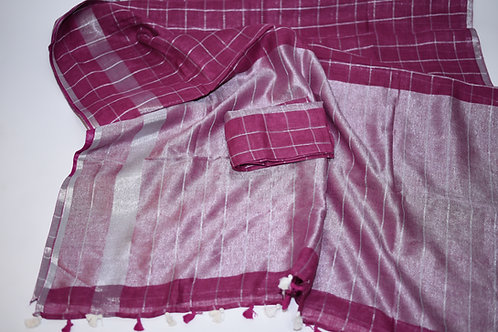 Linen Check Saree