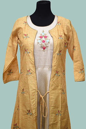 Embroidery Khadi Silk Gown