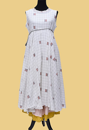 White Rayon Cotton A line Flared Kurti