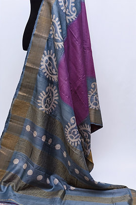 Grey Purple Tussar Silk Saree