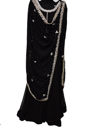 Black Silver Abaya Salwar suit
