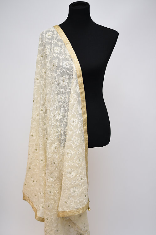Cream Chiffon Embroidery Dupatta