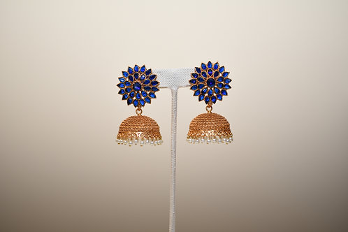 Blue Golden Jhumka
