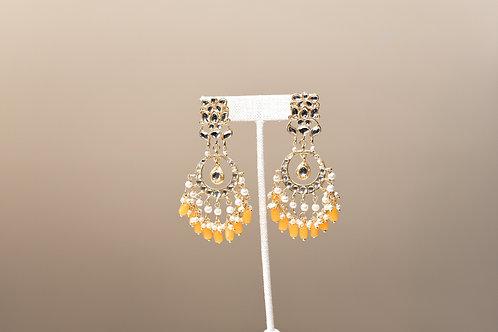 Kundan Yellow Chandbali Earring