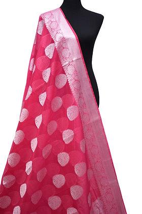 Banarsi handloom semi georgette silk pink saree