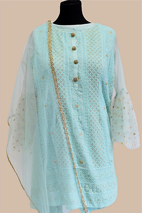 Sky-blue Sharara Suit