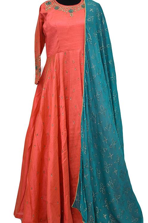 Coral Color Beautiful Long Suit