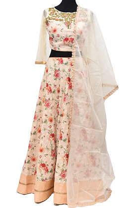 Cream Printed Floral Embroidery Lehanga Choli