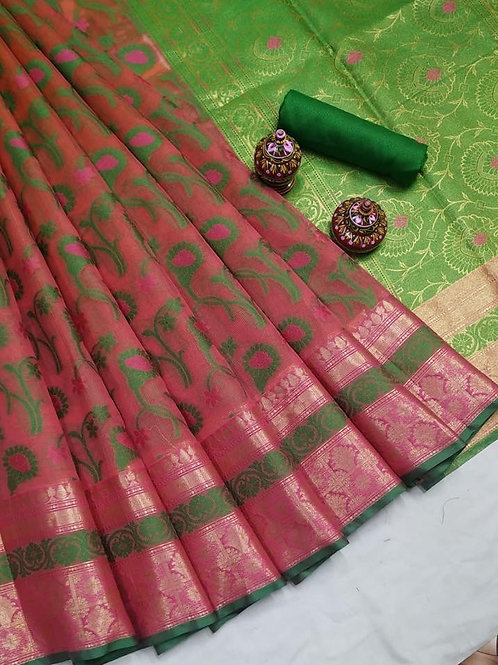 Green Red Kota Silk