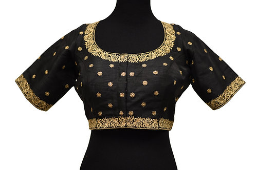 Black Silk Embroidery Blouse