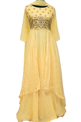 Yellow Abaya Style Designer Long Suit