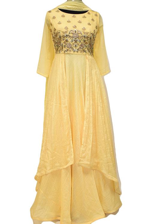 Yellow Abaya Style Designer Long Suit
