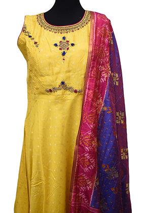 Gorgeous Yellow Silk Abaya Salwar Suit