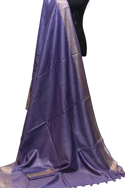 Purple Muga Tussar Silk Saree