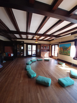 Yoga room in retreat house.