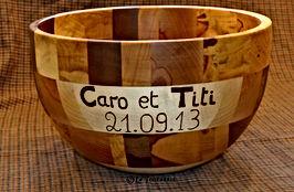 Saladier anniversaire mariage by La Tournerie - Tourneur sur bois 58
