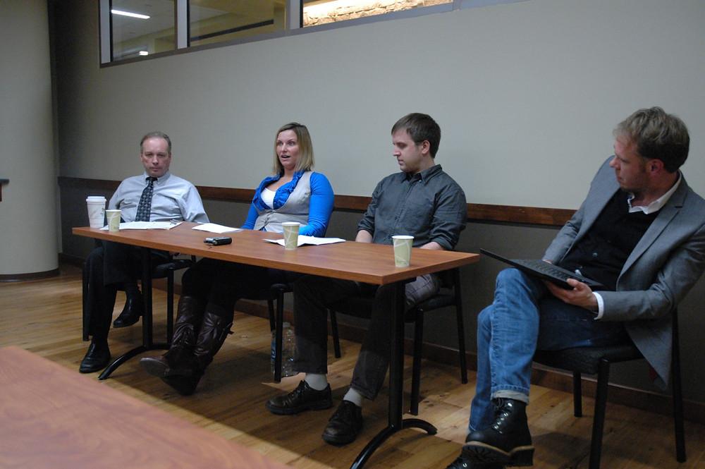 Panelists: Tim Kelley, Jacki Witkowski, Kristian Knutsen and Dietram Scheufele.