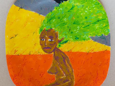 """Título: """"amazônia em chama"""" / Técnica: Acrílica e caneta posca"""