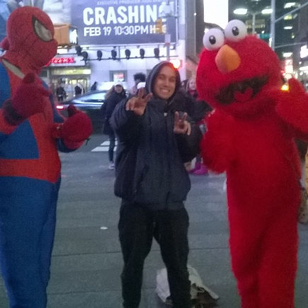 Kaizer with Elmo and Spider-man NYC
