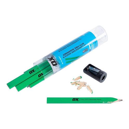 OX Hard Green Carpenters Pencils - 10pk OX-T023010