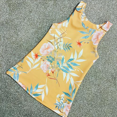 Mustard floral Pinafore dress