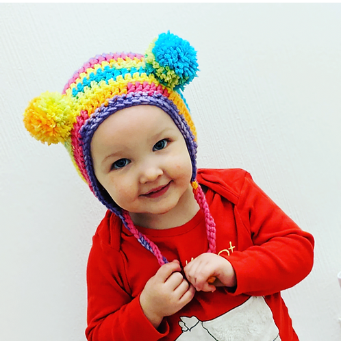 Rainbow pom pom bonnet