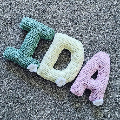 Crochet hanging letters