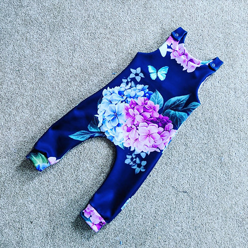 Navy butterfly Floral Romper