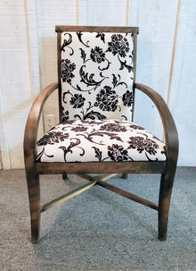 Refinished wooden chair with floral upholstery
