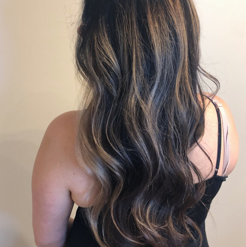 Balayage on long brown hair