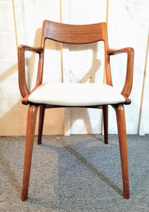 Teak chair with upholstered seat