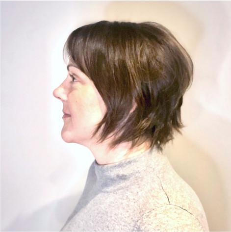 Razor Cut on fine, brown hair