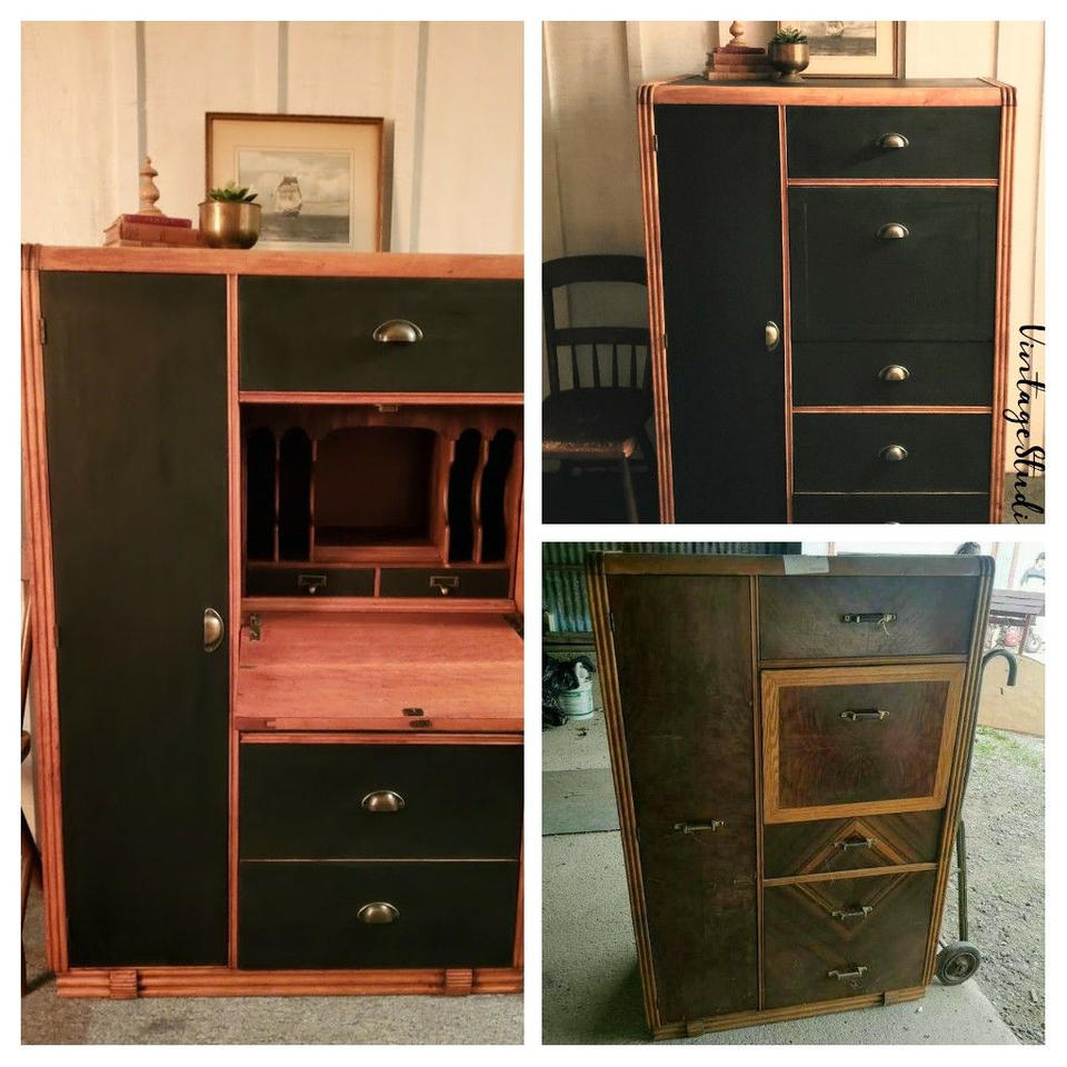Tallboy dresser before and after