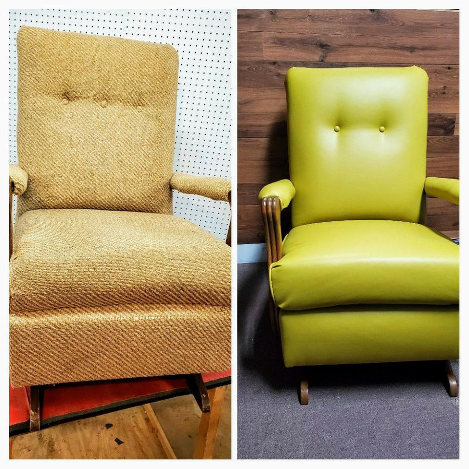 Reupholstered armchair in green