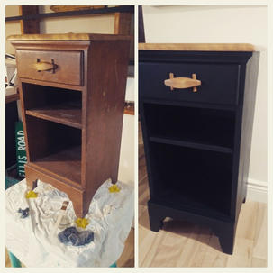 Wooden nightstand before and after