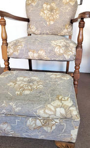 Upholstered chair with matching footstool