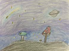 Neveah Hancock, Space Mushroom, Pencil and Colored Pencils, 2021
