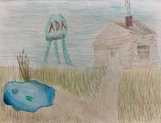 Anna Beth Muse, House with Pond, Colored Pencil, 2021
