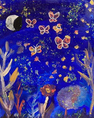 Makayla Huntsman, Misty Midnight, Acrylic Painting, 2021