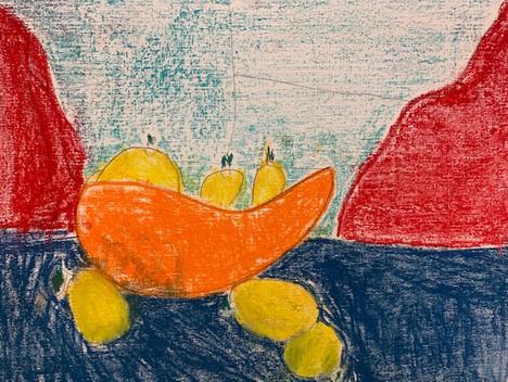 Max Manuel, Still Life with Lemons, Pastel Drawing 2021