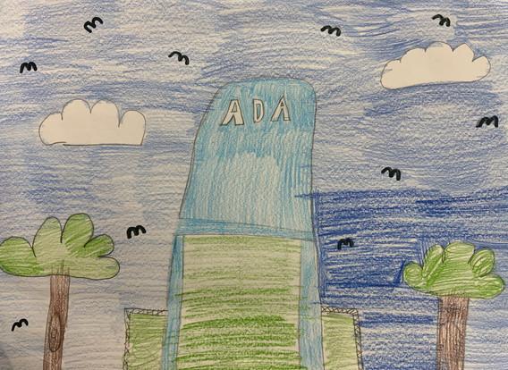 Ava Campos, Ada Water Tower, Crayon, 2021
